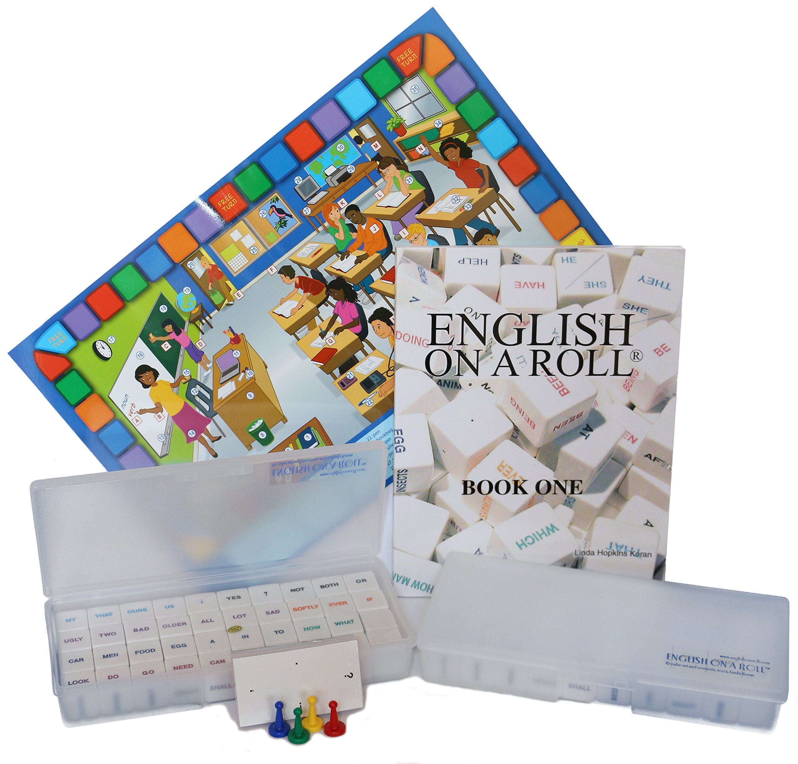 English on a Roll - English Grammar Teaching Method - 1 Manual, 2 Cube Sets - ESL EFL Classroom Game Combo