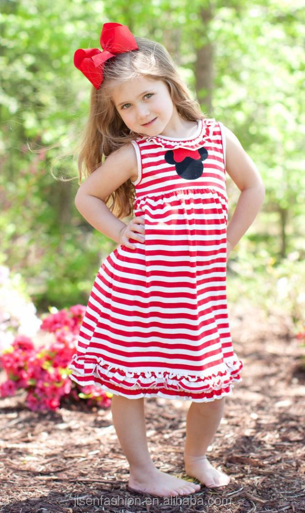 mouse ear appliqued summer toddler stripe dress children stripe dress