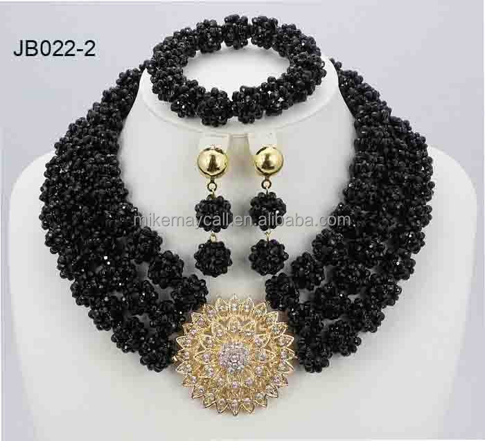 2016 Hot Nigerian Wedding African Beads Jewelry Set blackCostume Crystal Beads Necklace Jewelry Set