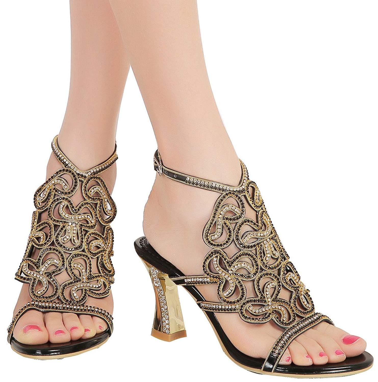 YooPrettyz Studded Wedding Prom Party Evening Dress Sandal Ankle Strap Sandal Chunky Heels