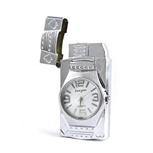 Cool Gadget Watch Windproof Butane Gas Cigarette Cigar Jet Flame Led Lighter Silver Color Butane Lighter