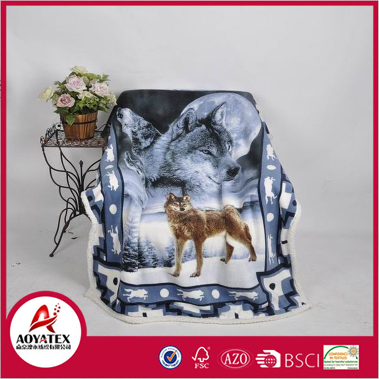 Fashion Design Animal 3D printed coral sherpa fleece blanket