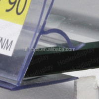 clear plastic glass shelves label holder for supermarket
