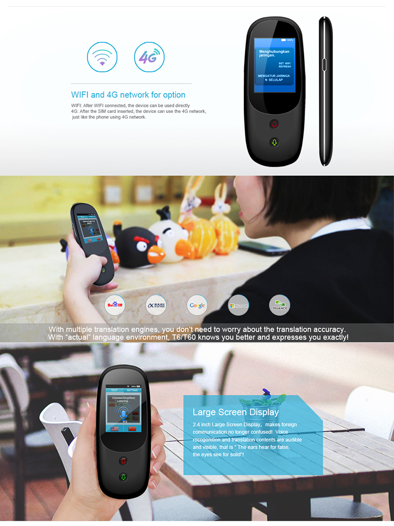 "Touch Screen 2.1"" AI Translator Device Wifi/4G Portable Voice Translator"