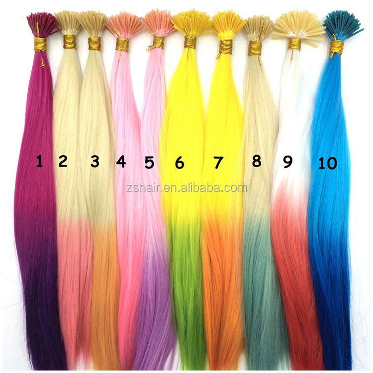 100pcs Synthetic Rainbow Color Hair Extensions 18 45cm Ombre Color