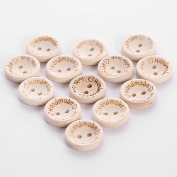 Custom laser design eco friendly wooden buttons two holes flat bottom snap garment accessary