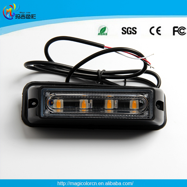 High Power12V/24V Amber red white blue Color 4 Led Flash strobe lights Side Light Truck Led Warning Light