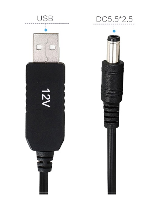 USB charging cable 5V to 12V step up cable usb to dc converter cable