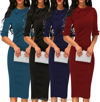 1130-SZMC4 Factory direct wholesale 4 Colors sexy fancy solid color maxi dress for office women