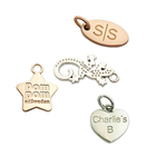 Wholesale embossed brand logo custom women mini metal pendant charm hang jewelry tags for Bracelet