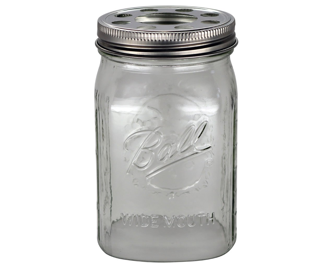 Open Bottom Mason Jar Glass Shade with 1-5/8-Inch Fitter Opening Lighting Lid (WM Quart Ball Jar, Clear)