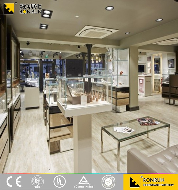 RJM0542 Custom Wood Glass Jewellery Showroom Furniture Designs For Jewelry Shop Interior Design