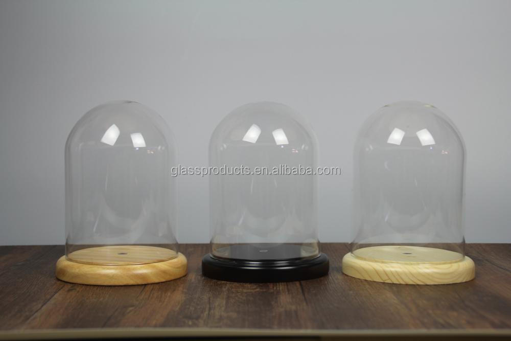 Mini Glass Cloche Dome with Wood Base D10 xH16cm (D3.94xH6.3 inches)