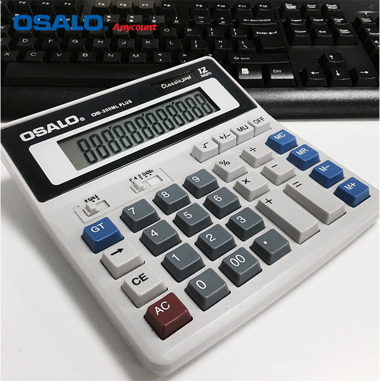 OSALO OS-200ML Wholesales 12 digits two way power calculator Electronic bare solar cell calculator