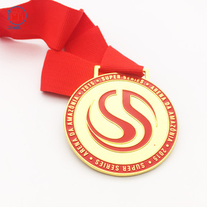 Cheap made in china 2d custom award enamel gold medal with medal box