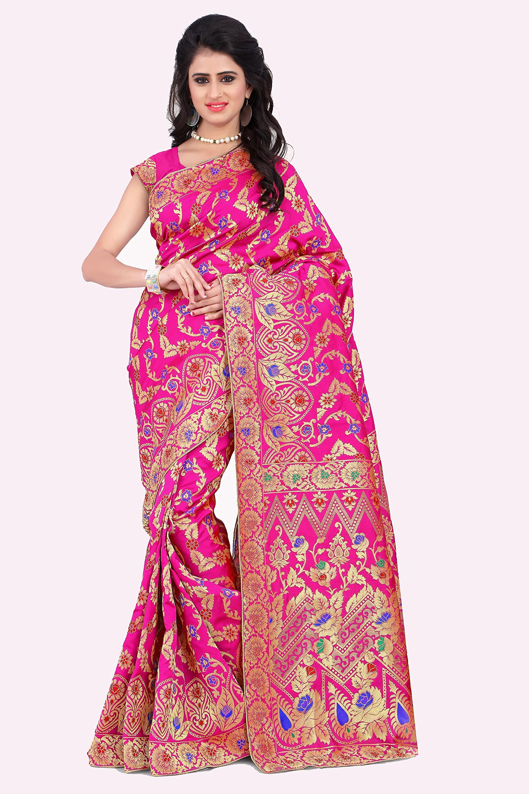 Rajnandini Women's Banarasi Silk Weaving Work Saree(JOPLLB1011_Pink_Free Size)