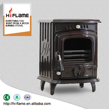HiFlame 5kw output Small and hot sale brown ceramic indoor smokeless wood stove HF277