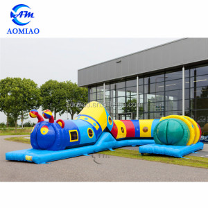 Awesome outdoor inflatable tunnel obstacle course, giant obstacle course game for kids