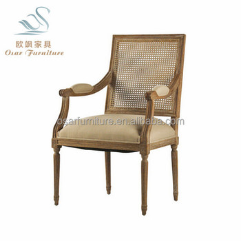 Shabby Chic Furniture Distressed Wood Rattan Back Dining Arm Chairs
