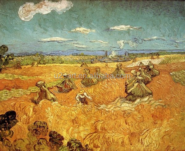 Wall decoration art Wheat Stacks with Reaper by Van Gogh painting