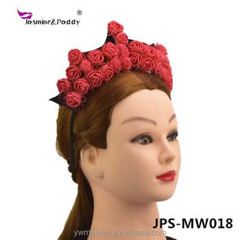 New design festival queen rose crown headband Bridal flower hair band f20b7c48b58