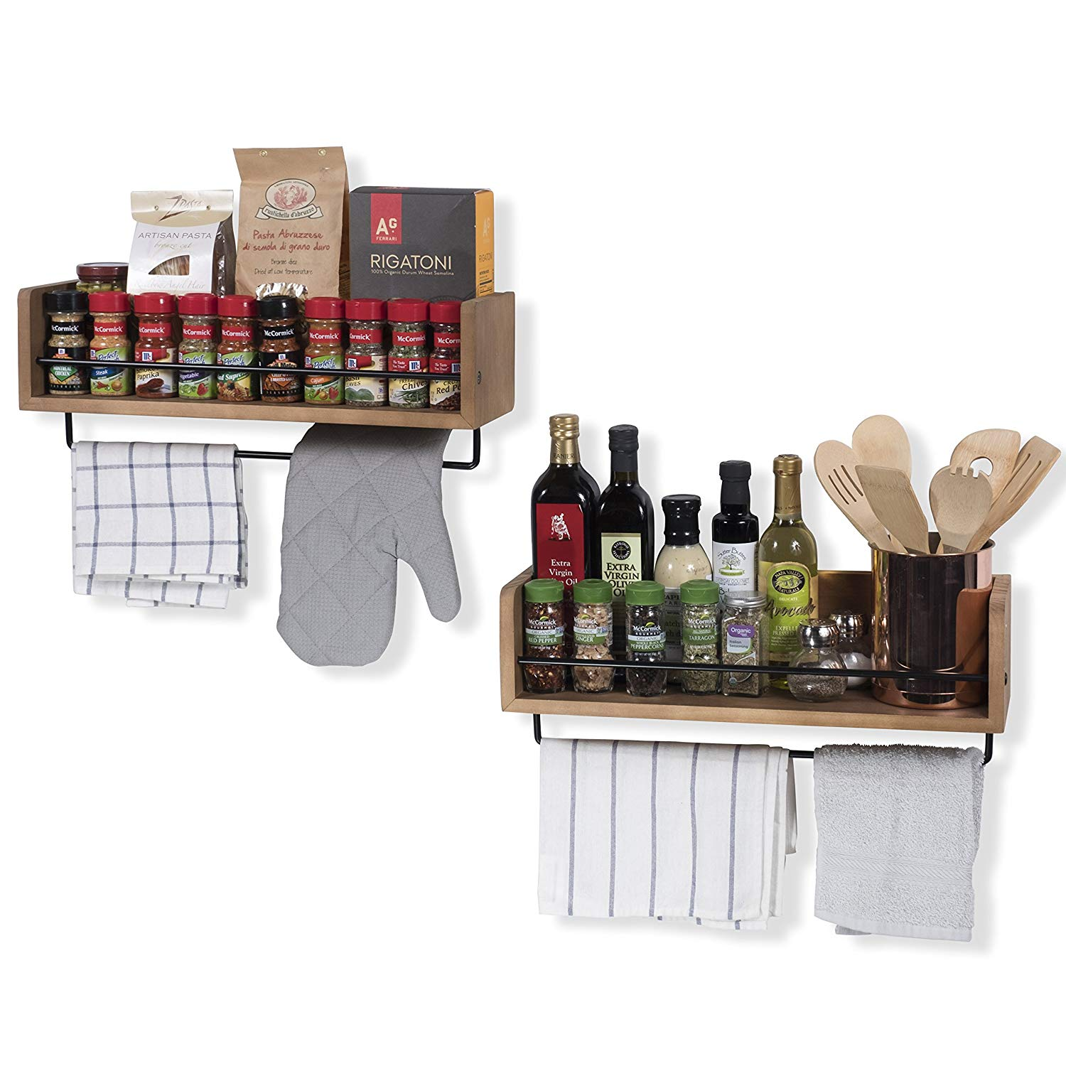 Kitchen Wood Wall Shelf with Metal Rail Multi Use Can Be Used As a Spice Rack