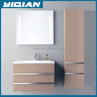 Mannufacturer customized bathroom furniture multifactional mirror side cabinet ceramic shampoo sink bathroom vanity combo
