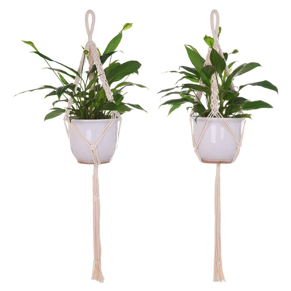 Sundlight Macrame Plant Hanger Indoor Outdoor Set of 2 Wall Hanging Planter Basket Cotton Rope Home Decor without Vase,85cm/33.46""