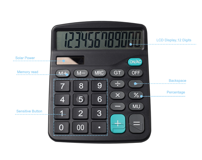 Large Compact Calculator Big Display Office Dual Power 12 Digit Calculator