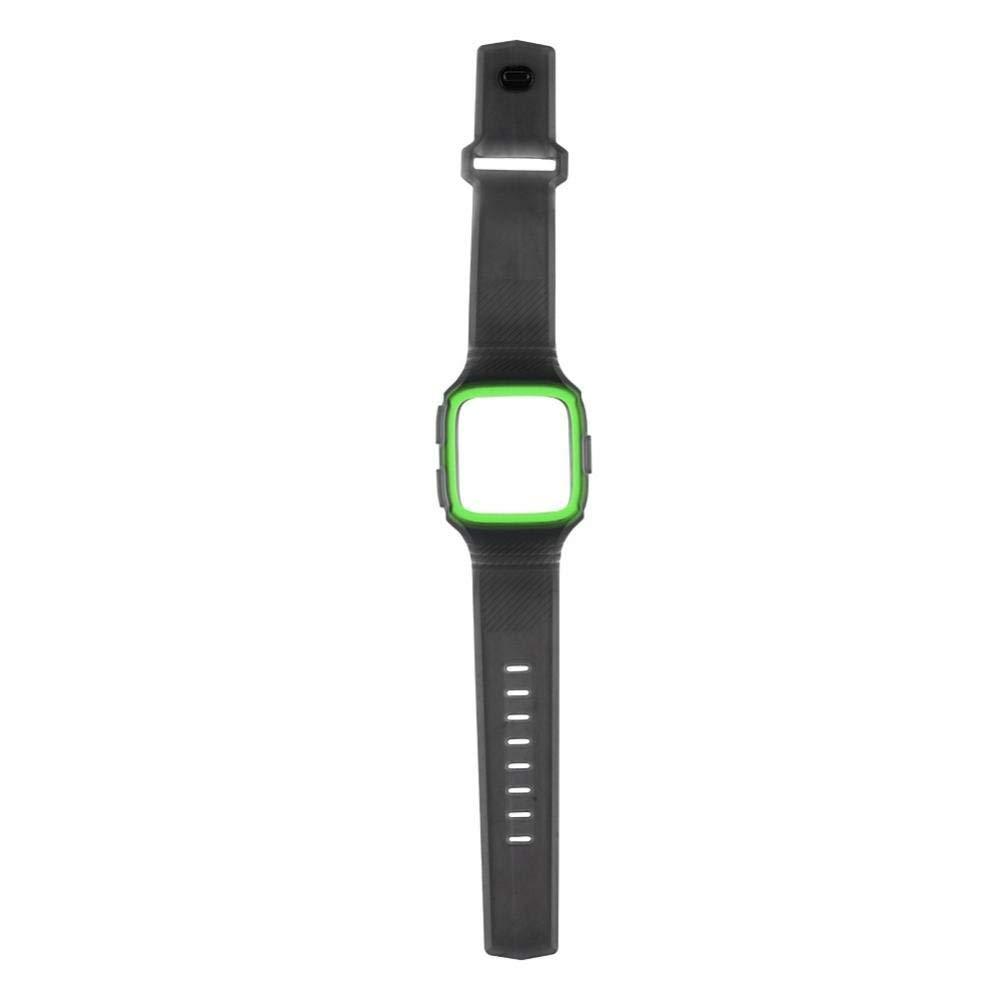 fosa Watch Band Metal Replacement Watch Bracelet Silica Gel Watch Strap for Fitbit woman Men (Green)