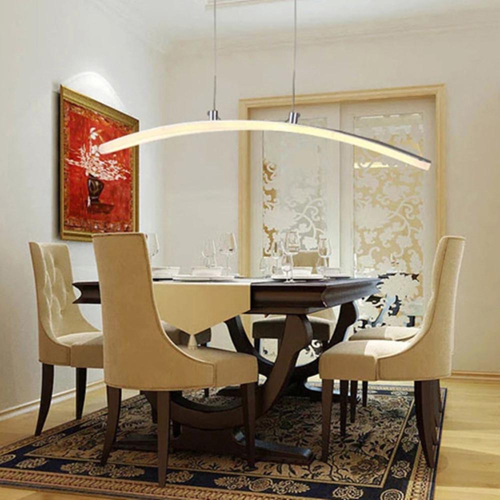 Modern Led Lumin Ria De Acr Lico Arco Criativo Lustre Em Forma De  -> Lustre Sala De Jantar Led