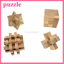 wooden iq interlocking puzzle educational assembling toy