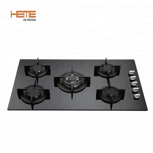 Best-Selling Tempered Glass Panel Top Gas Hob 5 Burner Cooktops