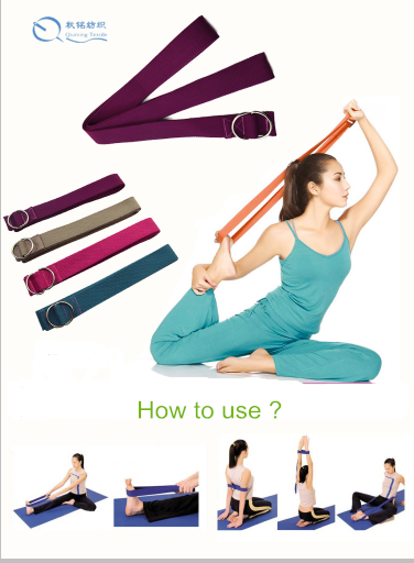 Wholesale 100% cotton fitness straps Yoga strap with custom logo and label
