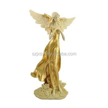 Handmade Garden Angel Statue Golden Flower Fairy Statue