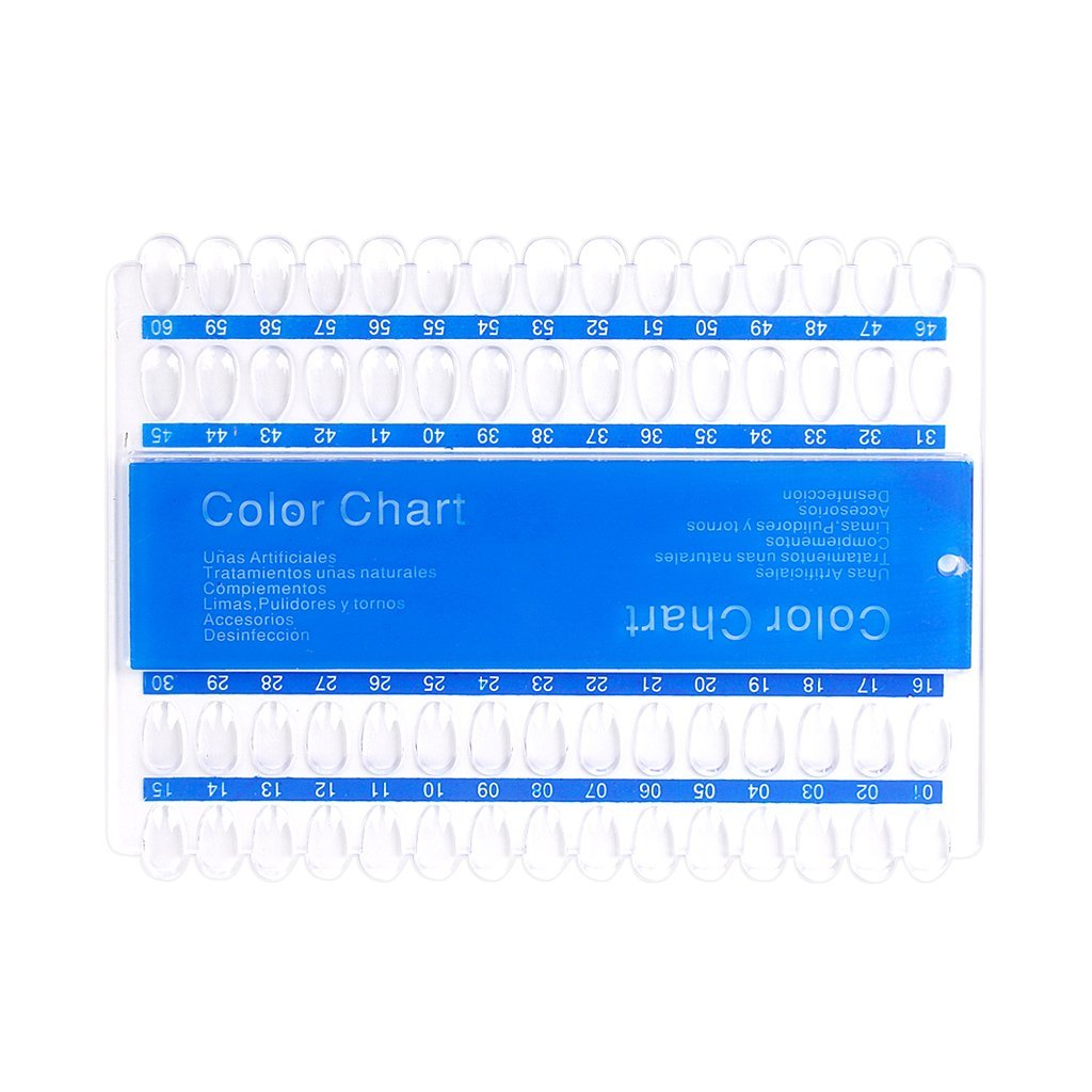 60 Colors Acrylic UV Pedicure Polish Nail Art Color Display Chart Plates