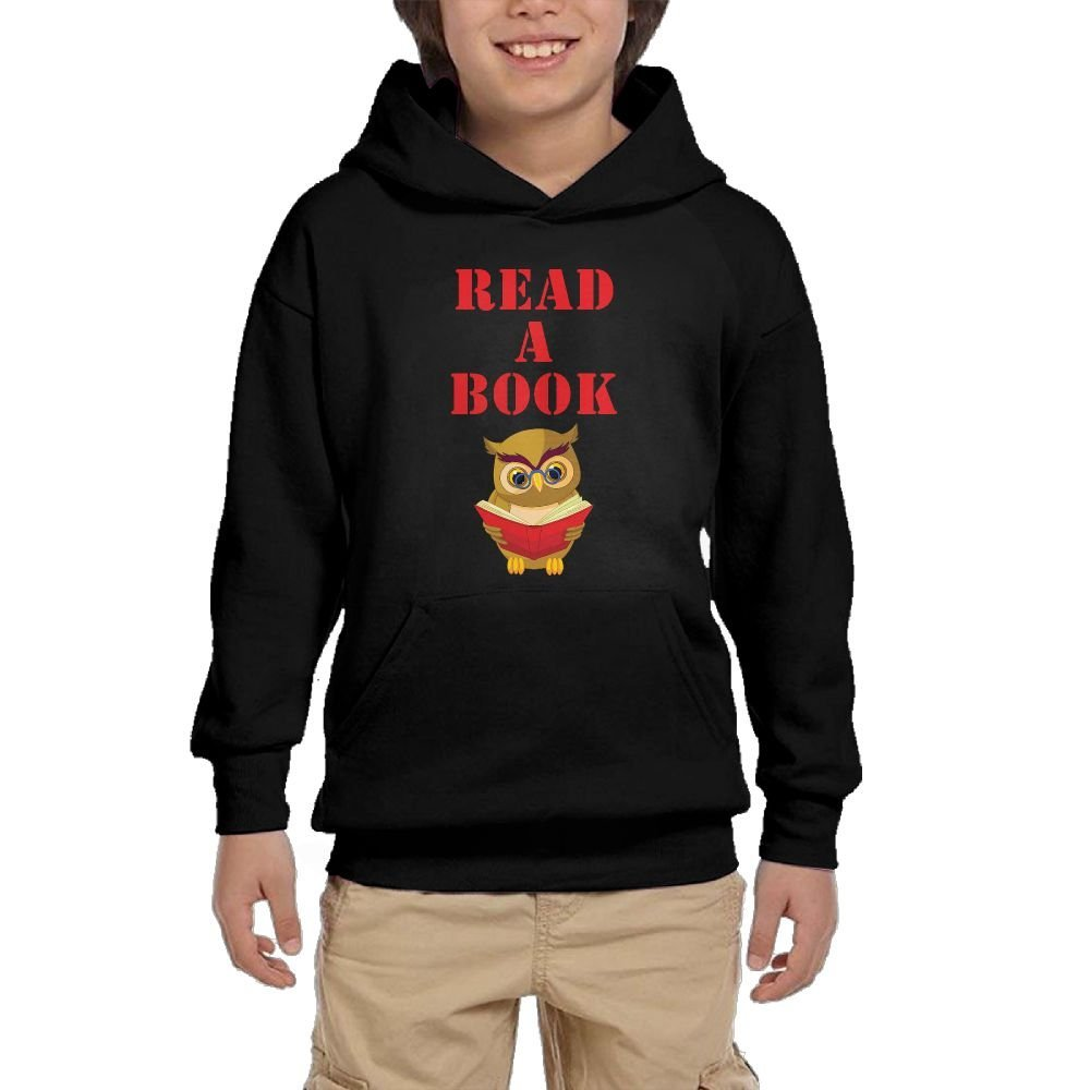 Read A Book Cartoon Girl Athletic With Pocket Hooded Graphic Pullover Sweatshirts