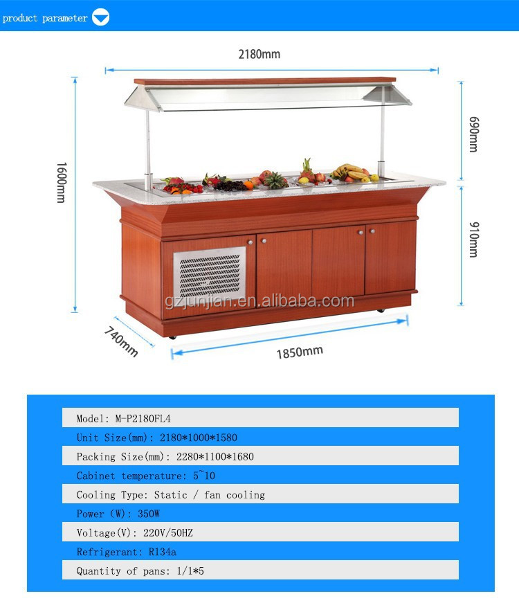 Ice table fruit salads Ice display table ice container on table