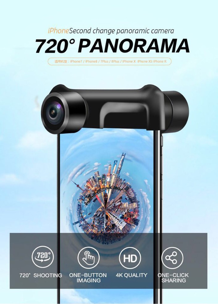 High Definition Wide Angle 3D VR 720 Degree Panoramic Mobile Camera Lens for iphone X 8 7 Plus
