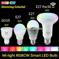 4W 6W 9w PAR LIGHT bulbs E27 E26 E14 Dimmable wifi smart led bulb RGBW mi light