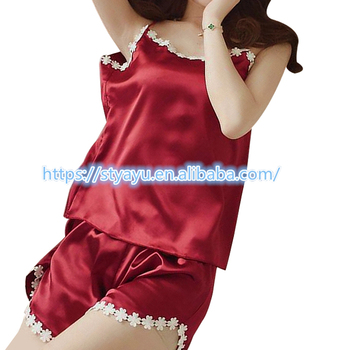 ac1cb59dad29 Flower embroidery tank top and shorts satin pajamas ladies 2 pieces pajamas  sets