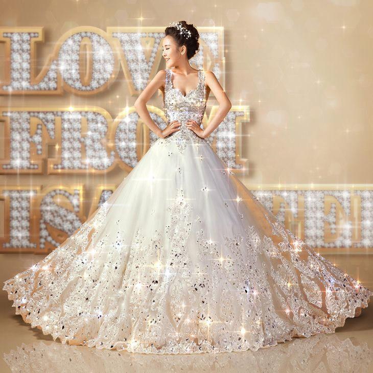 New 2015 European Design V neck Princess Bride Wedding ...