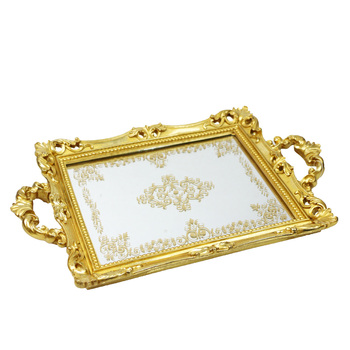 2017 New Wave Luxuxy Gold Resin and Glass Decorative jewelry Mirror Tray