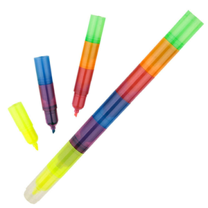 Six section fluorescent pen Rainbow Highlighter pen Building blocks Toy student gift pen
