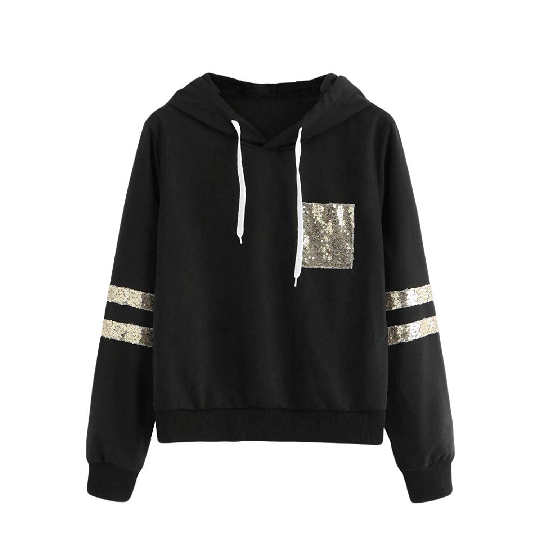 Women Long Sleeve Stripe Hooded Sweatshirt Cuekondy Fashion Sequin Pocket Hoodie Pullover Blouse Top for Teen Girls