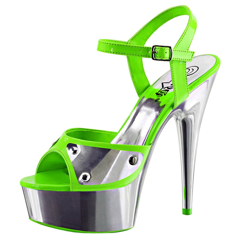 Summitfashions Womens High Heeled Sandals Neon Green Blacklight Platform Sandals 6 Inch Heels