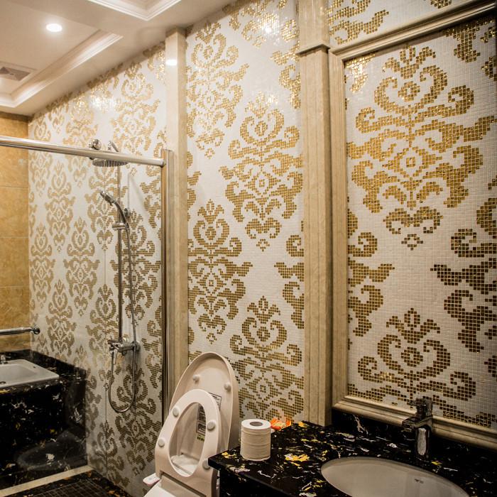 Jy p sm02 pattern a mosaico in vetro da parete color oro fiore ...