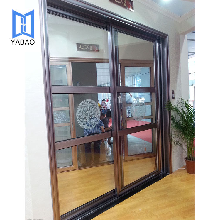 Competitive price modern wood glass design front Red aluminium PVC sliding doors