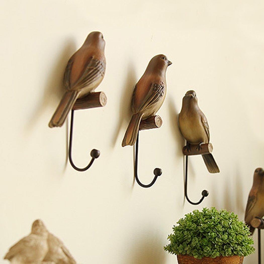 Set of 3 Vintage Country Rustic Bird Coat Rack, Decorative Wall Rack, Hat Coat Bag Hanging Wall Hook Rack