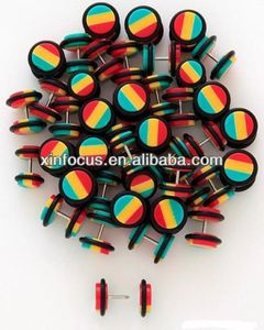 16G Rasta Cheater Fake Ear Plugs Gauges Rasta Piercings